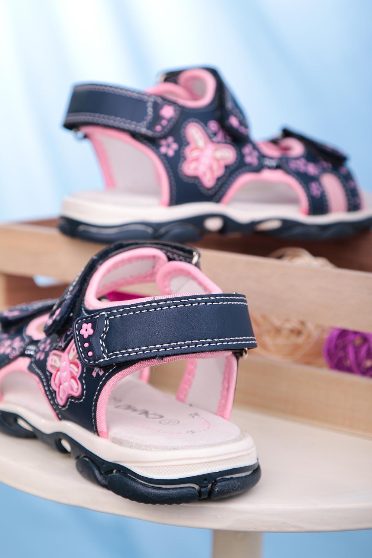 Granatowe sandały na rzepy ze skórzaną wkładką Casu 7014 granatowy
