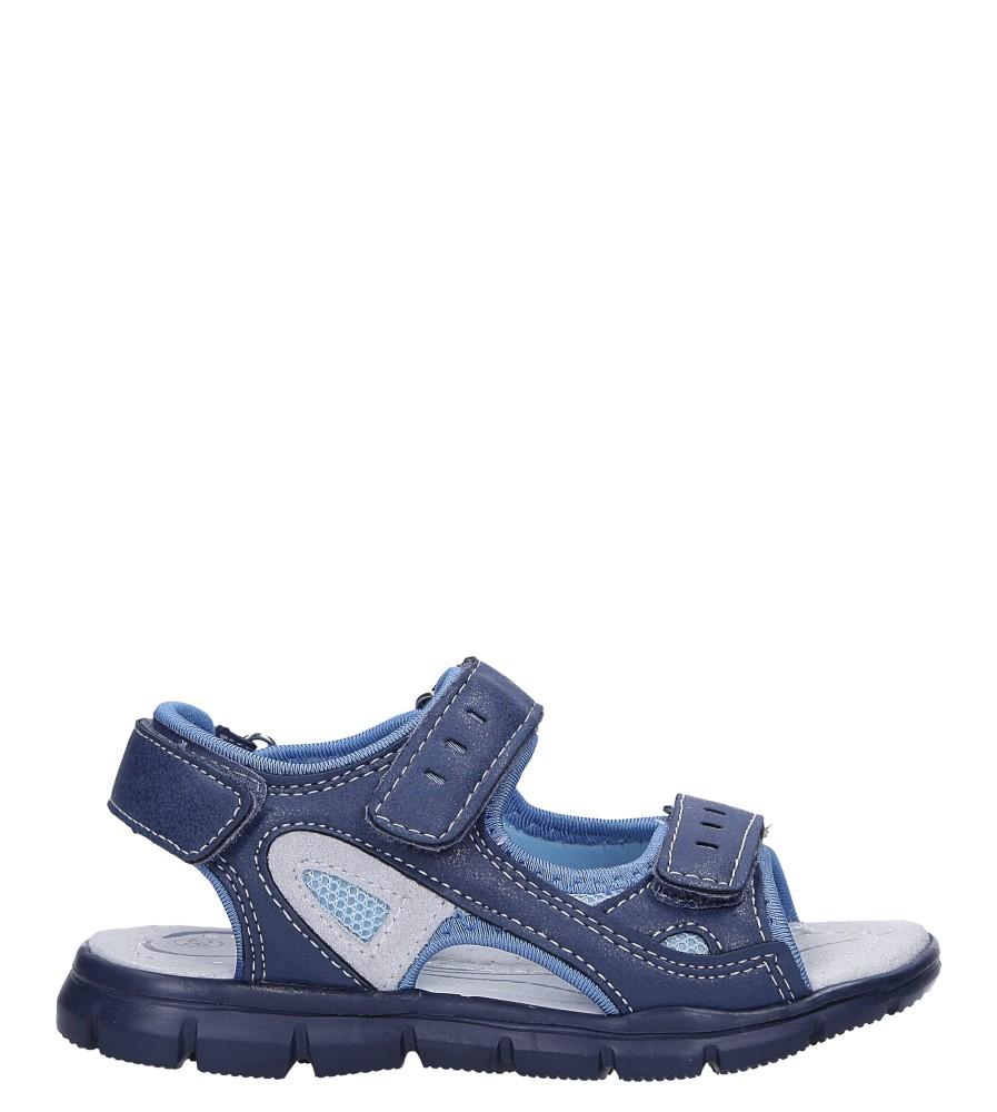 Granatowe sandały na rzepy ze skórzaną wkładką Casu N827MR