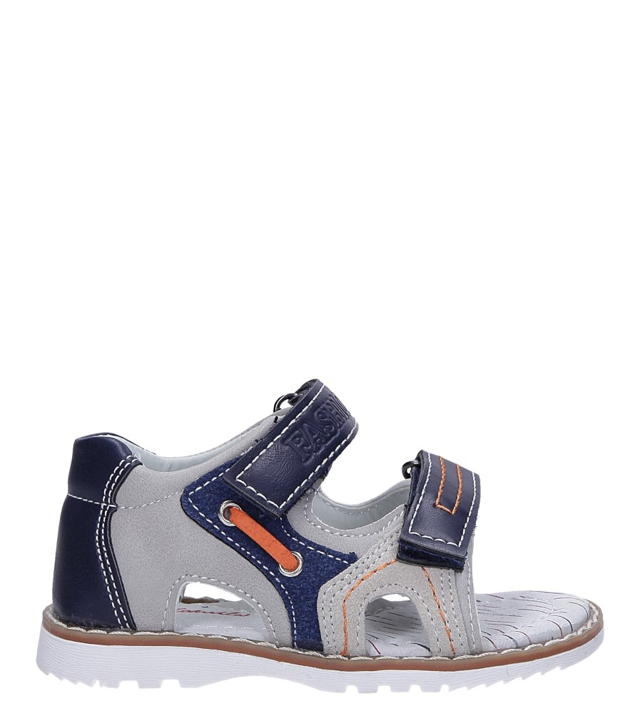 Granatowe sandały na rzepy ze skórzaną wkładką Casu YF-325