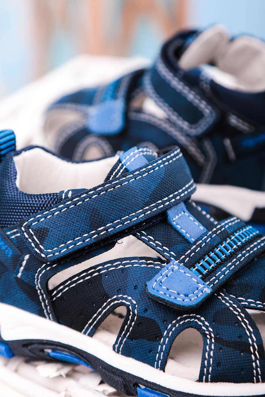 Granatowe sandały na rzepy ze skórzaną wkładką z zakrytą piętą zabudowane Casu JX18