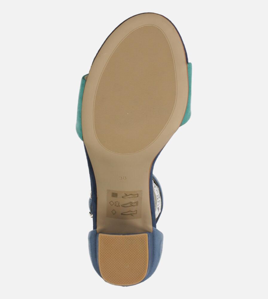 Granatowe sandały na słupku z zakrytą piętą paskiem wokół kostki ze skórzaną wkładką Casu ER20X2/N wysokosc_obcasa 8.5 cm