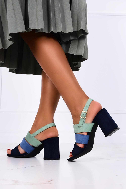 Granatowe sandały na słupku ze skórzaną wkładką Casu ER21X19/N