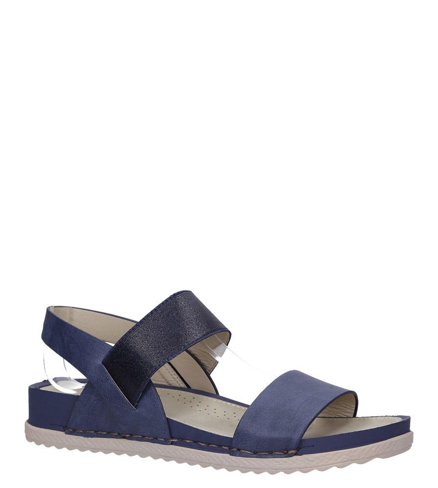 Granatowe sandały płaskie z gumką Casu F19X3/N