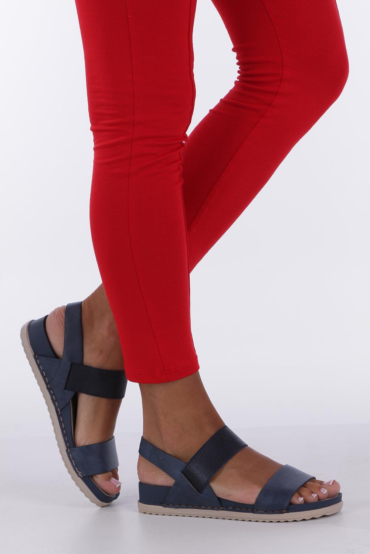 Granatowe sandały płaskie z gumką Casu F19X3/N kolor granatowy