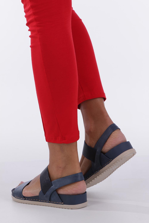Granatowe sandały płaskie z gumką Casu F19X3/N wysokosc_obcasa 3.5 cm