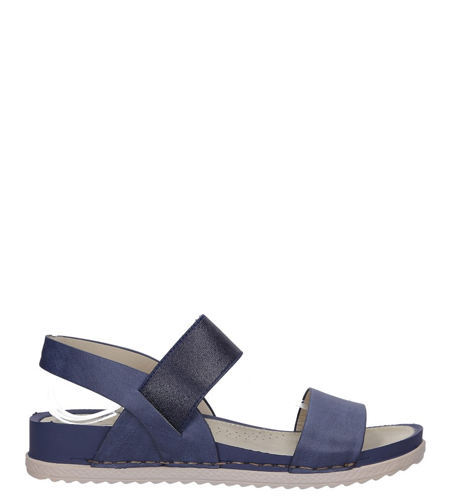 Granatowe sandały płaskie z gumką Casu F19X3/N wysokosc_platformy 2 cm