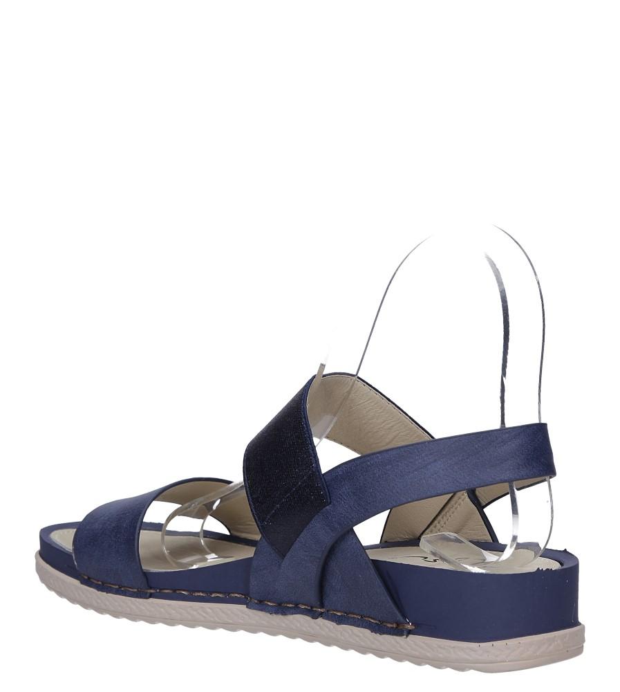 Granatowe sandały płaskie z gumką Casu F19X3/N wys_calkowita_buta 12 cm