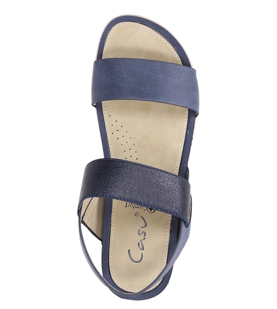 Granatowe sandały płaskie z gumką Casu F19X3/N wierzch skóra ekologiczna