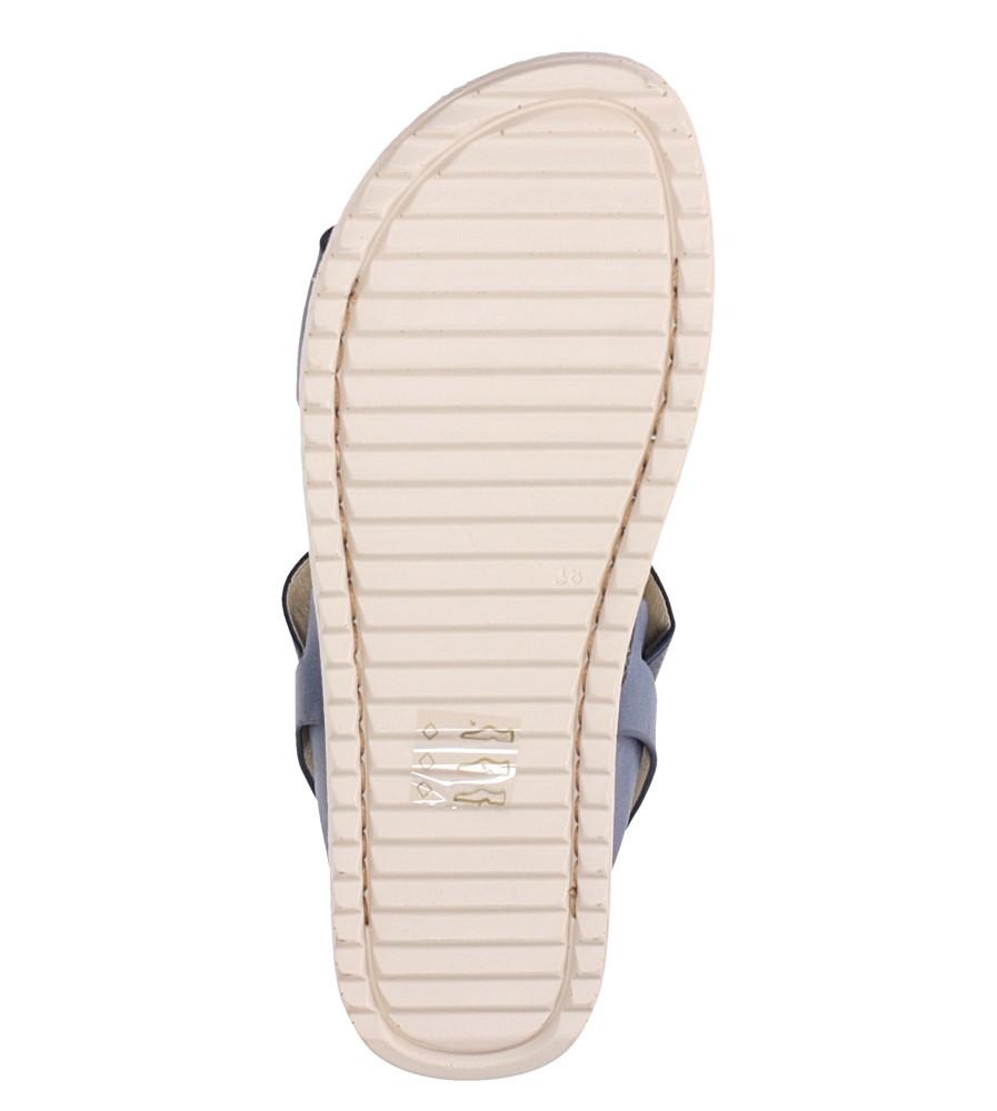 Granatowe sandały płaskie z gumką Casu F19X3/N wnetrze skóra ekologiczna
