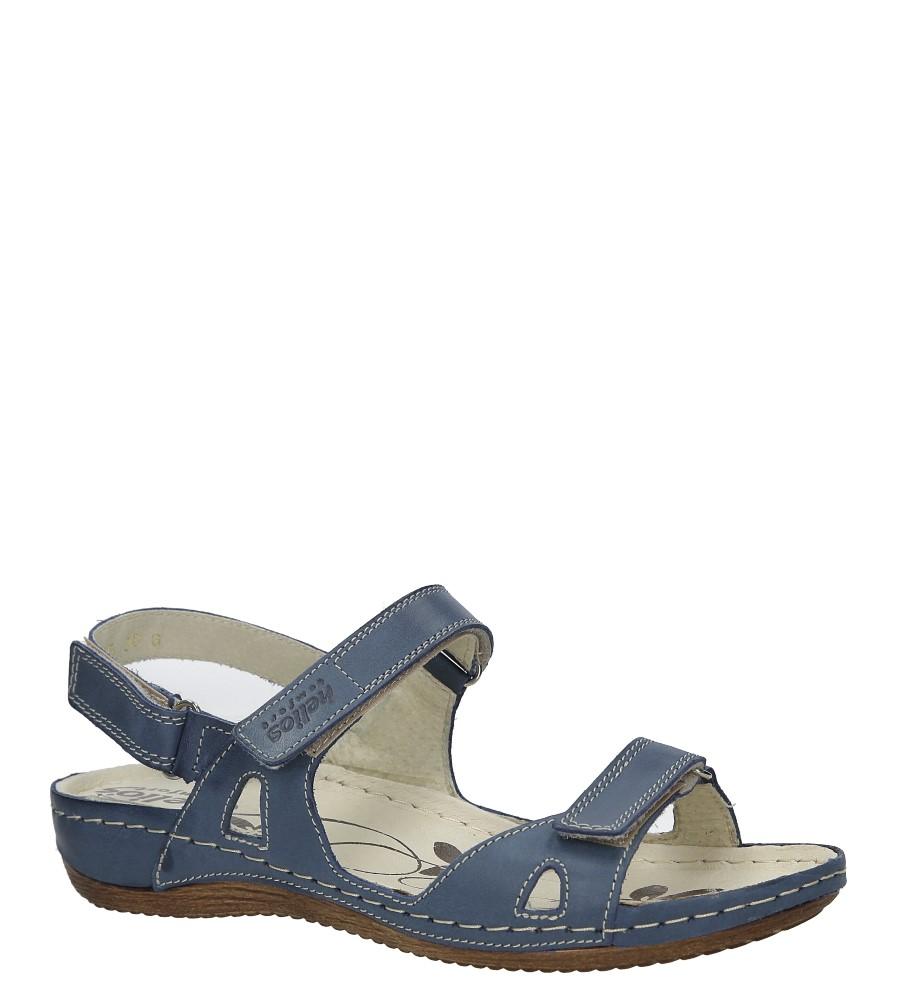 Granatowe sandały skórzane na koturnie Helios 205