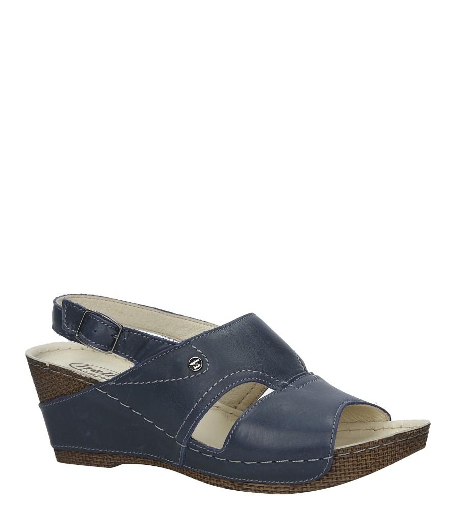 Granatowe sandały skórzane na koturnie Helios 217