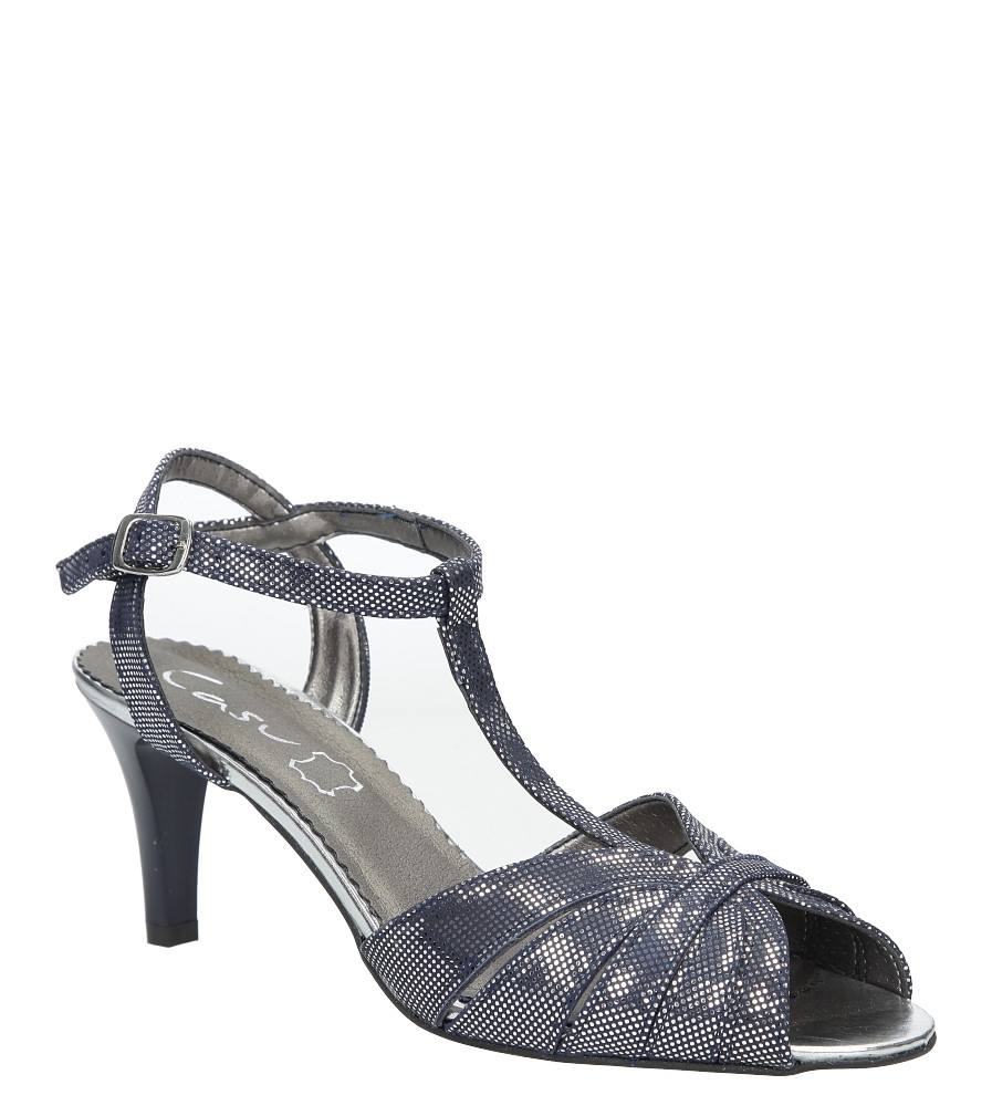 Granatowe sandały skórzane t-bar Casu 323