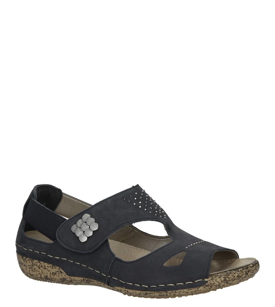 Granatowe sandały skórzane z nitami Rieker V7264-14 granatowy