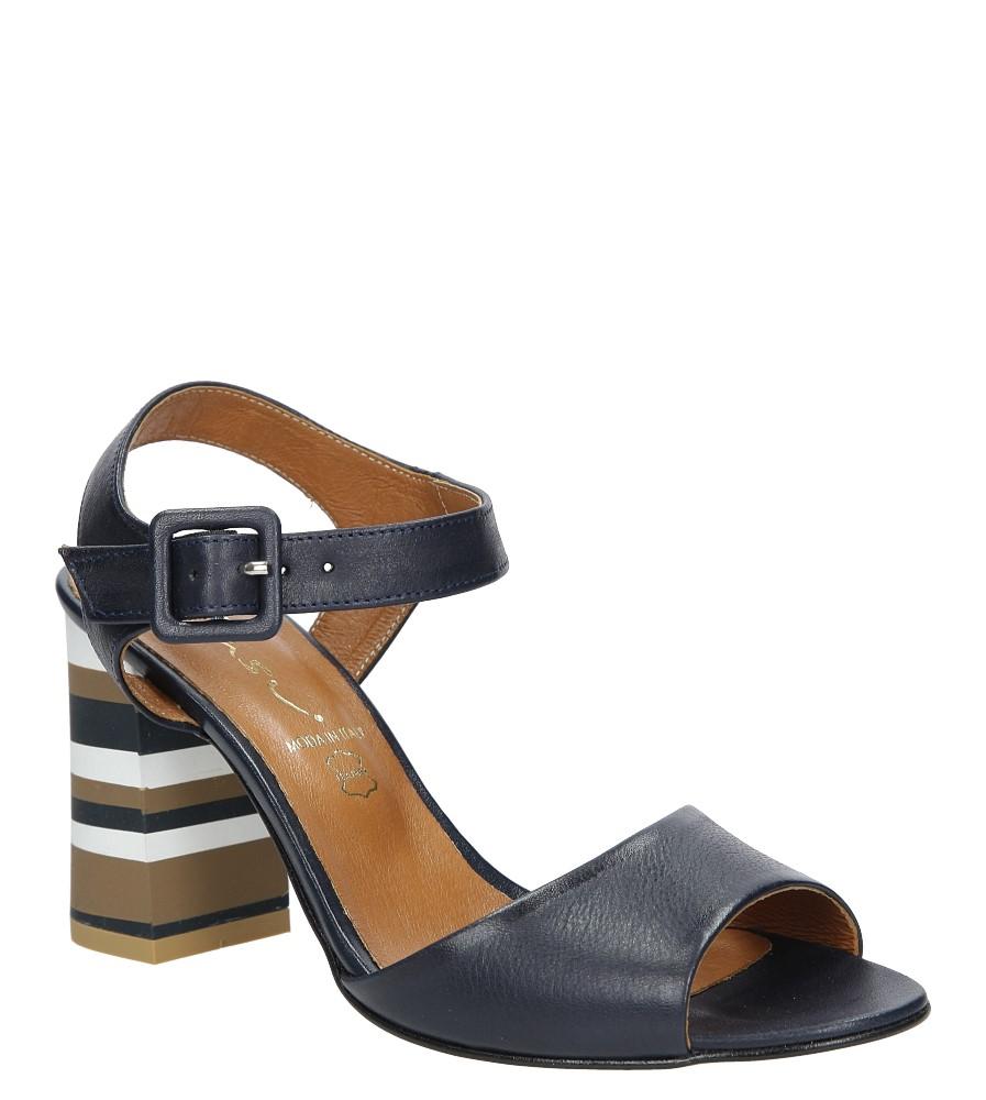 Granatowe sandały skórzane z ozdobnym szerokim obcasem Casu CAS005 producent Casu