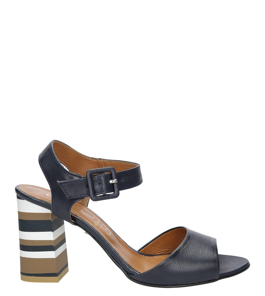 Granatowe sandały skórzane z ozdobnym szerokim obcasem Casu CAS005 sezon Lato