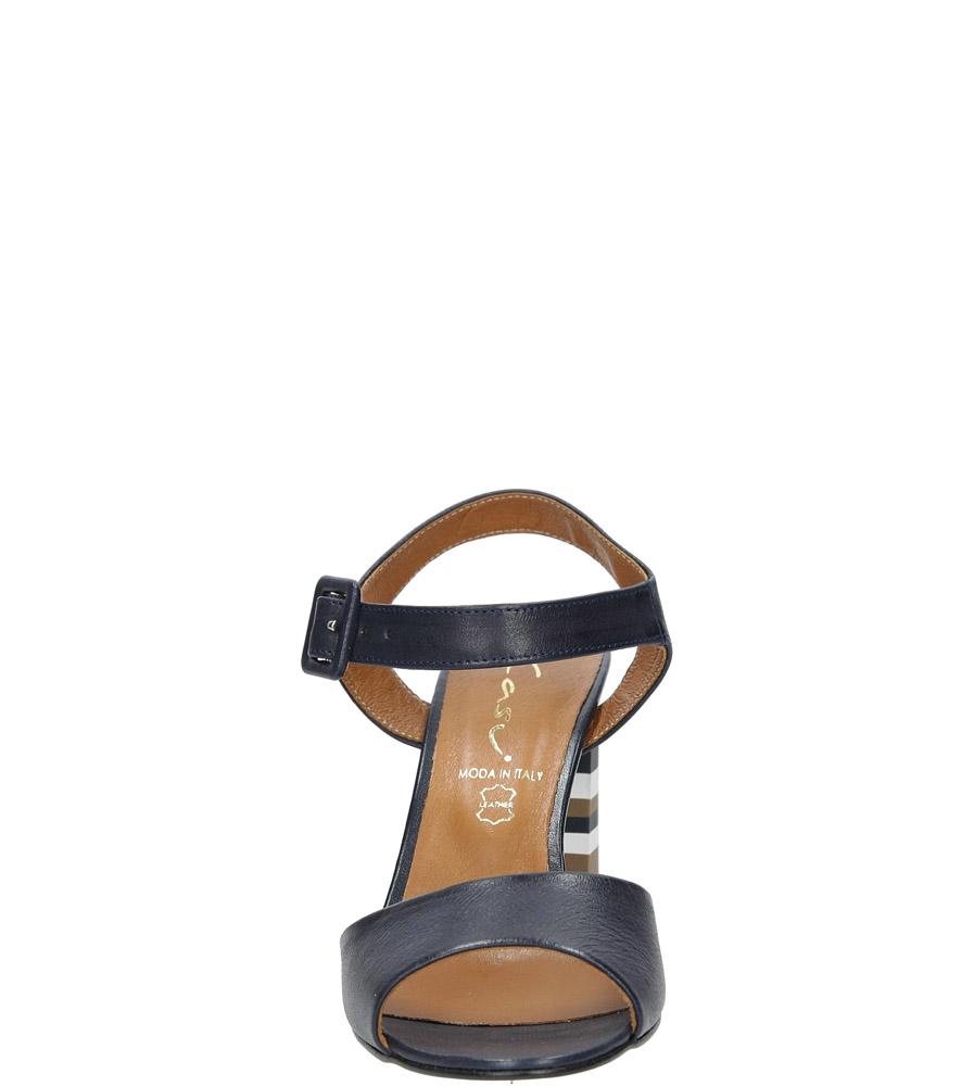 Granatowe sandały skórzane z ozdobnym szerokim obcasem Casu CAS005 kolor granatowy