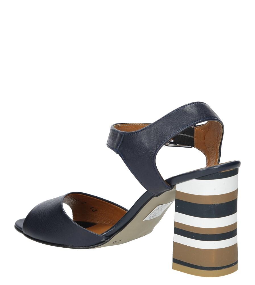 Granatowe sandały skórzane z ozdobnym szerokim obcasem Casu CAS005 wysokosc_obcasa 9 cm