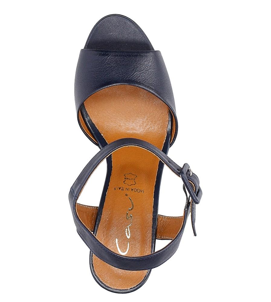 Granatowe sandały skórzane z ozdobnym szerokim obcasem Casu CAS005 wys_calkowita_buta 13 cm