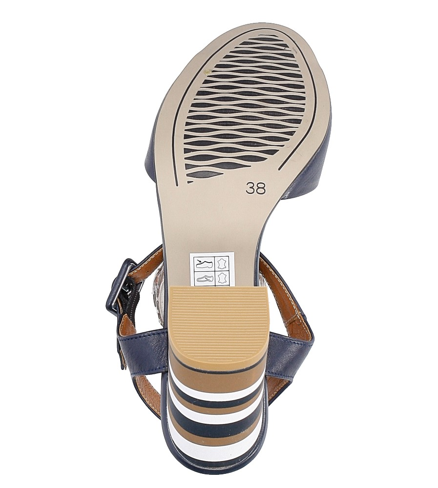 Granatowe sandały skórzane z ozdobnym szerokim obcasem Casu CAS005 wierzch skóra naturalna - licowa