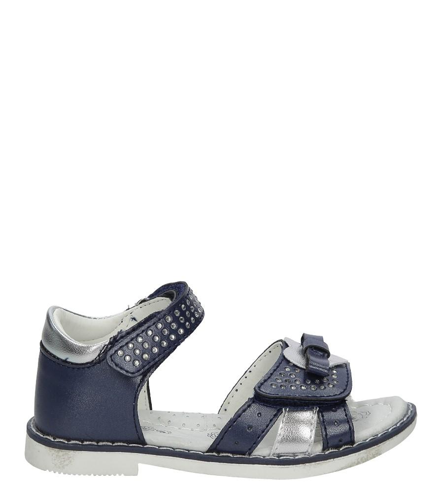 Granatowe sandały z cyrkoniami na rzep Casu F-218