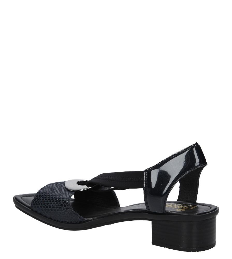 Granatowe sandały na słupku z metalową ozdobą Rieker 62662 14