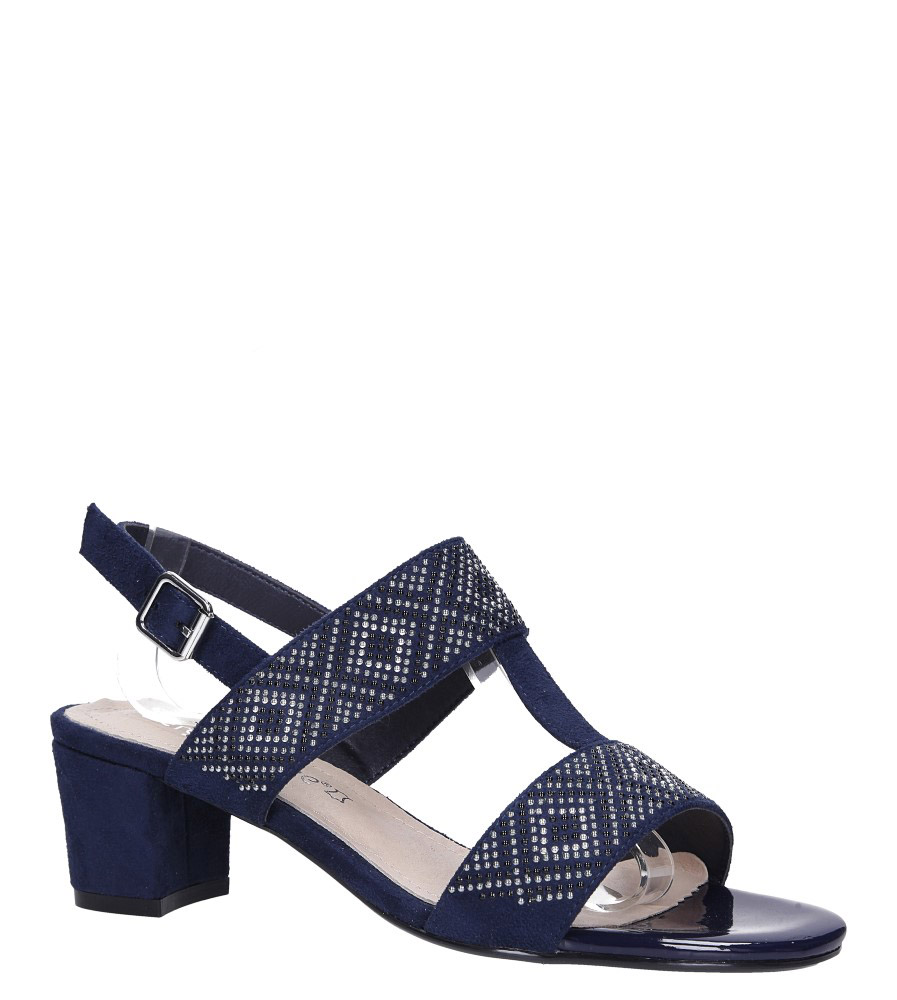 Granatowe sandały z nitami na szerokim niskim słupku Sergio Leone SK799