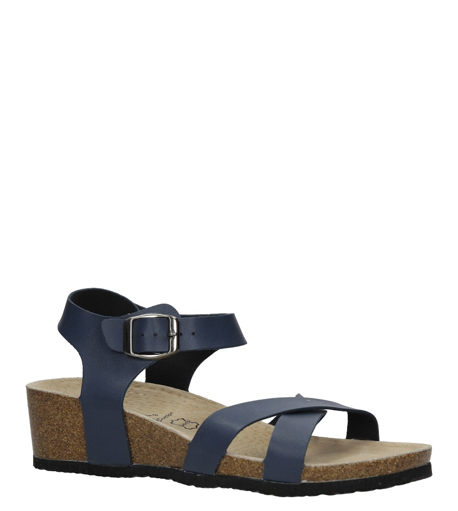 Granatowe sandały ze skórzaną wkadką na koturnie z korka Casu B18X5/N