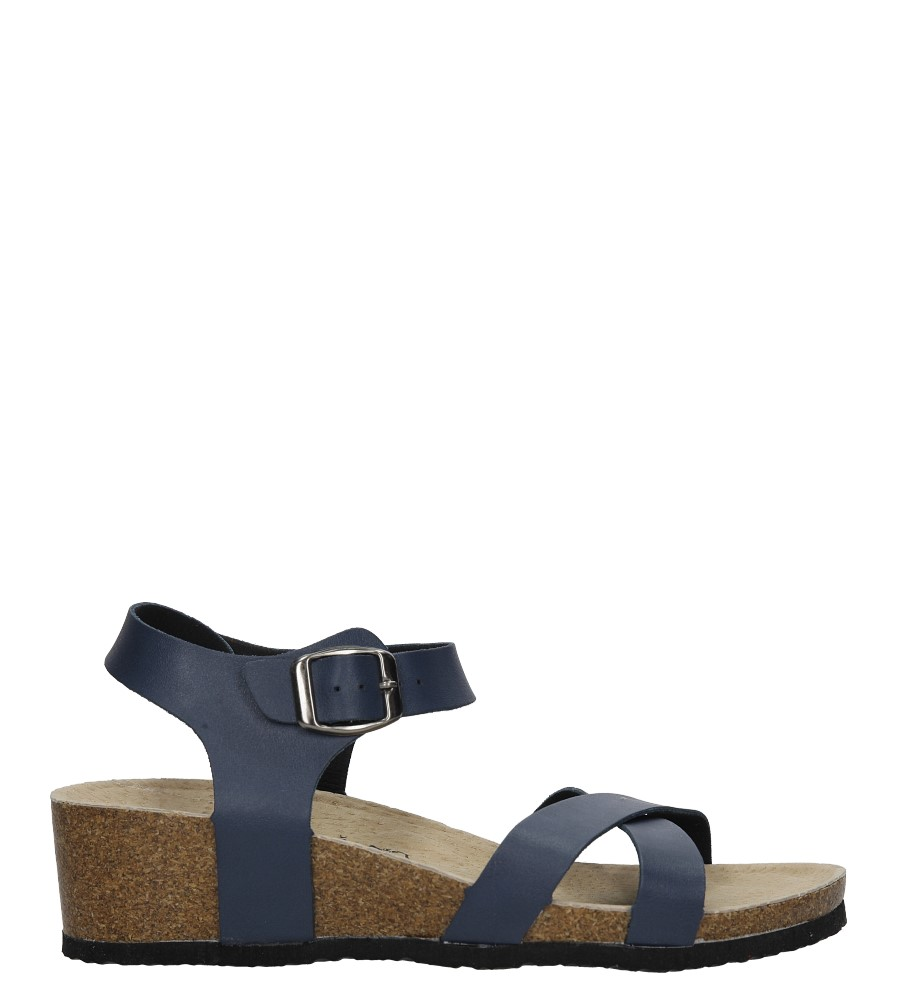 Granatowe sandały ze skórzaną wkadką na koturnie z korka Casu B18X5/N sezon Lato
