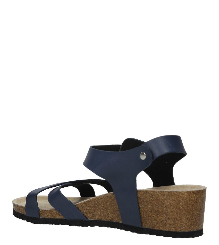 Granatowe sandały ze skórzaną wkadką na koturnie z korka Casu B18X5/N wysokosc_obcasa 5 cm