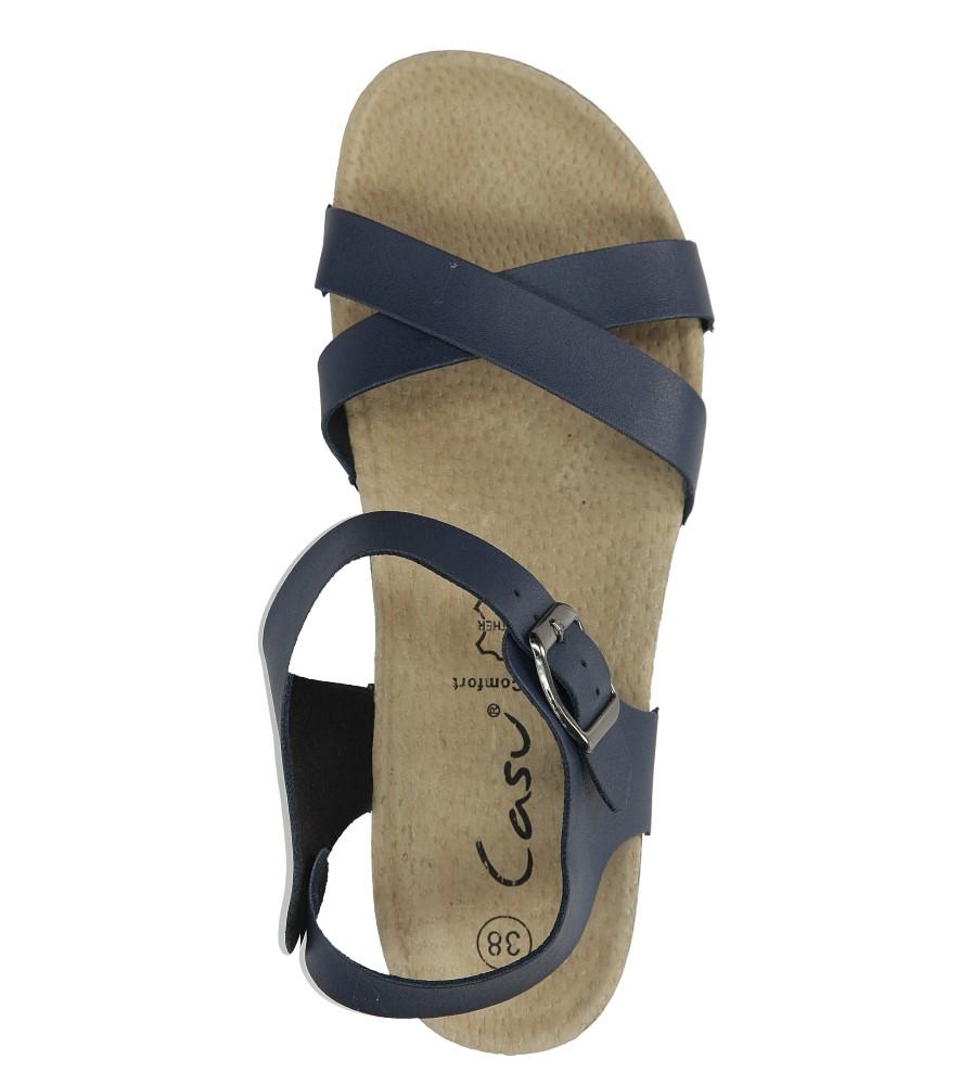Granatowe sandały ze skórzaną wkadką na koturnie z korka Casu B18X5/N wysokosc_platformy 2 cm