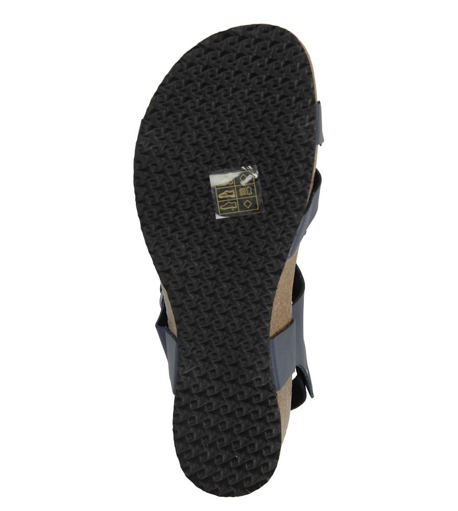 Granatowe sandały ze skórzaną wkadką na koturnie z korka Casu B18X5/N wys_calkowita_buta 13 cm