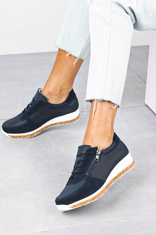 Granatowe sneakersy Filippo buty sportowe skórzane sznurowane z ozdobnym suwakiem DP1252/20NV