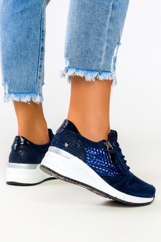 Granatowe sneakersy Filippo skórzane buty sportowe sznurowane z ozdobnym suwakiem DP2052/21NV