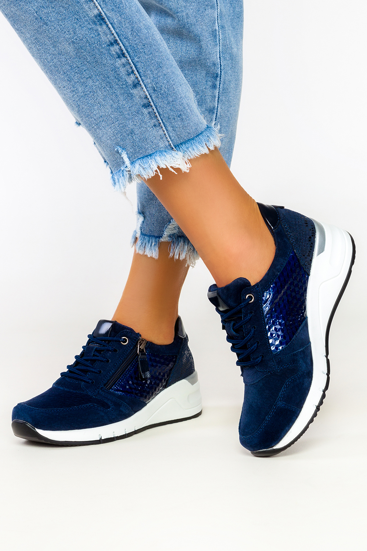 Granatowe sneakersy Filippo skórzane buty sportowe sznurowane z ozdobnym suwakiem DP2052/21NV granatowy