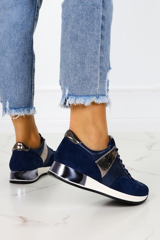 Granatowe sneakersy Kati buty sportowe sznurowane polska skóra 7003 granatowy