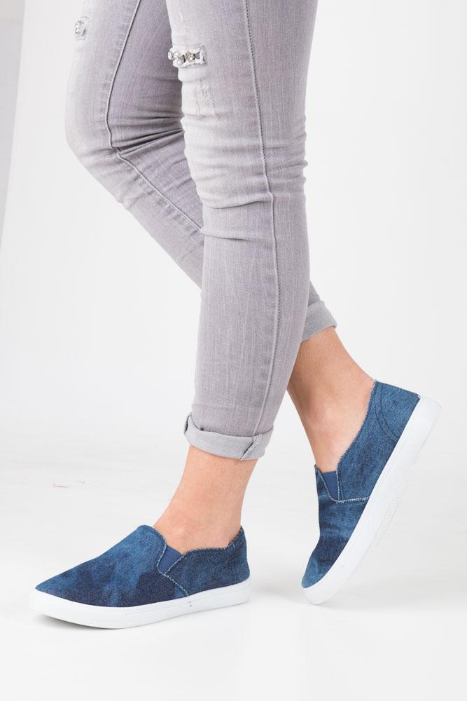 Granatowe trampki slip on jeans Mckey DTN188/17JN
