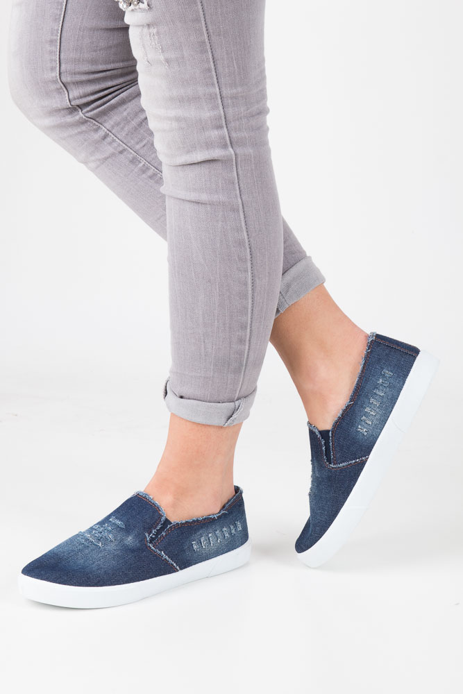 Granatowe trampki slip on jeans Mckey DTN247/17DJ