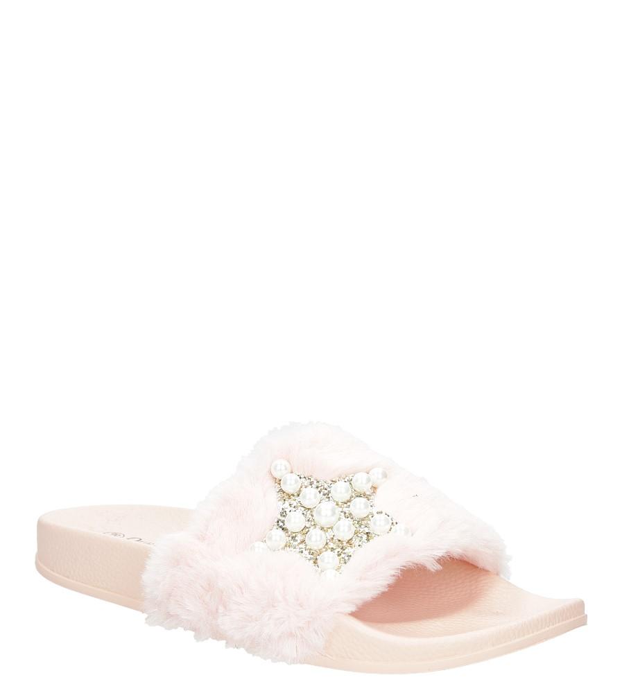 Klapki z futerkiem i perełkami Casu 58-20 jasny różowy
