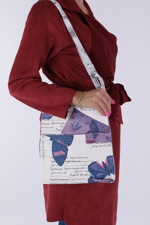 Kolorowa torebka listonoszka z kieszonką z przodu Casu 850