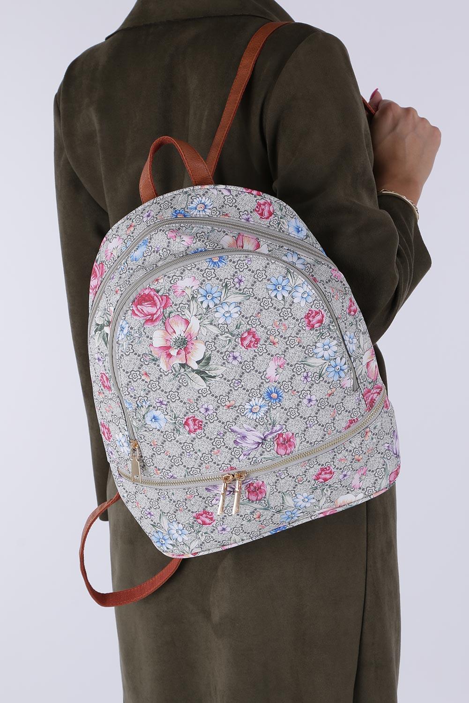 Kolorowy plecak w kwiatki z kieszonką z przodu Casu Z0032