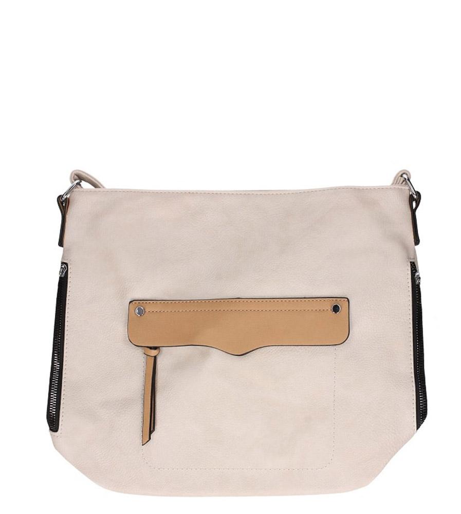 Kremowa torebka listonoszka z kieszonką z przodu Casu AD-49
