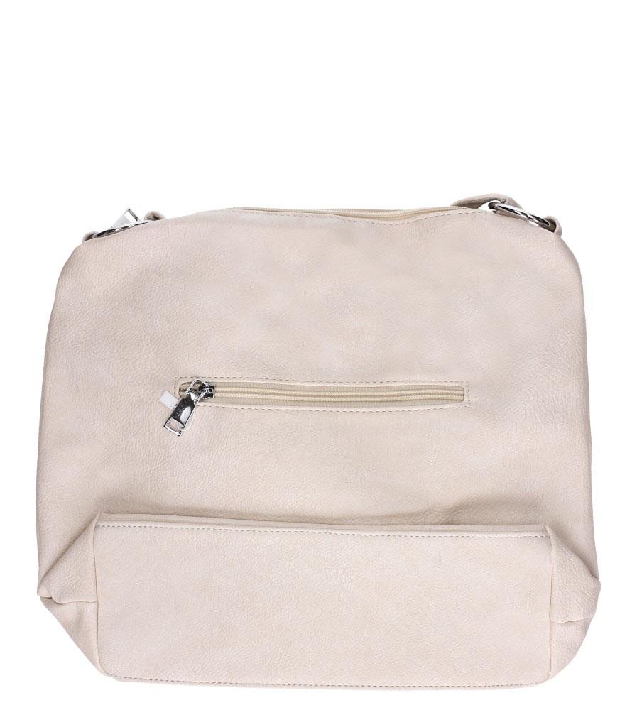Kremowa torebka listonoszka z kieszonką z przodu i frędzlami Casu AD-54 kolor kremowy
