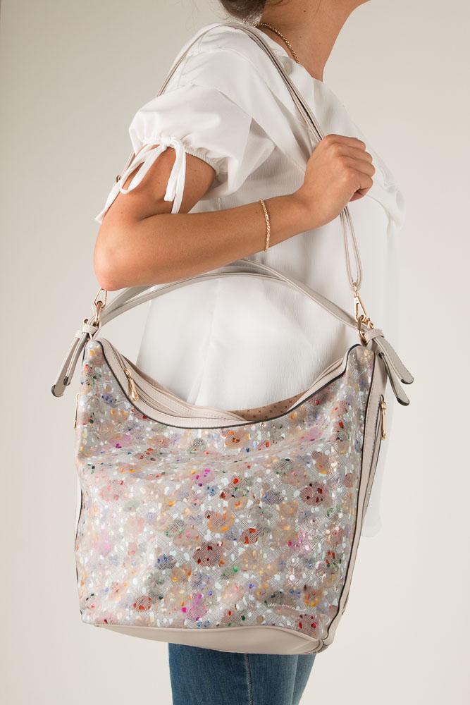 Kremowa torebka mozaika Casu LY-3460