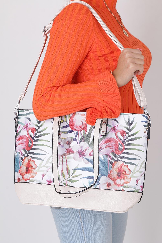 Kremowa torebka w kwiaty Casu AD-39 sezon Lato