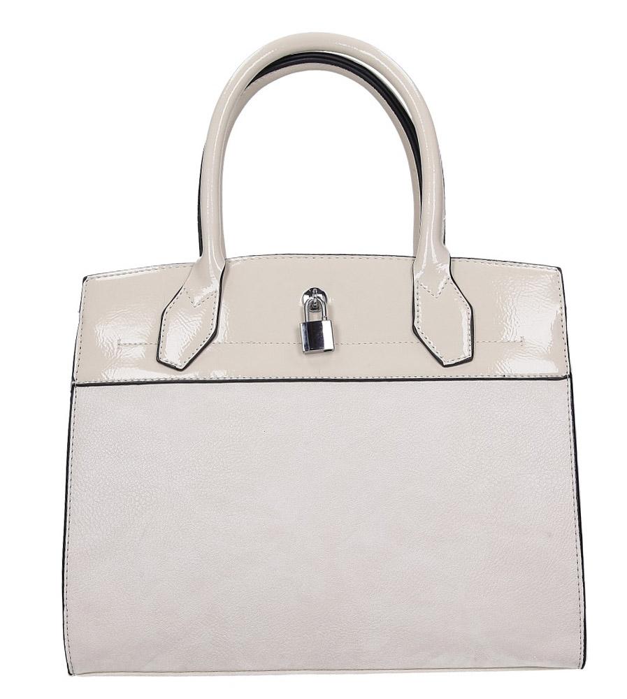 Kremowa torebka z metalową ozdobą Casu AD-43