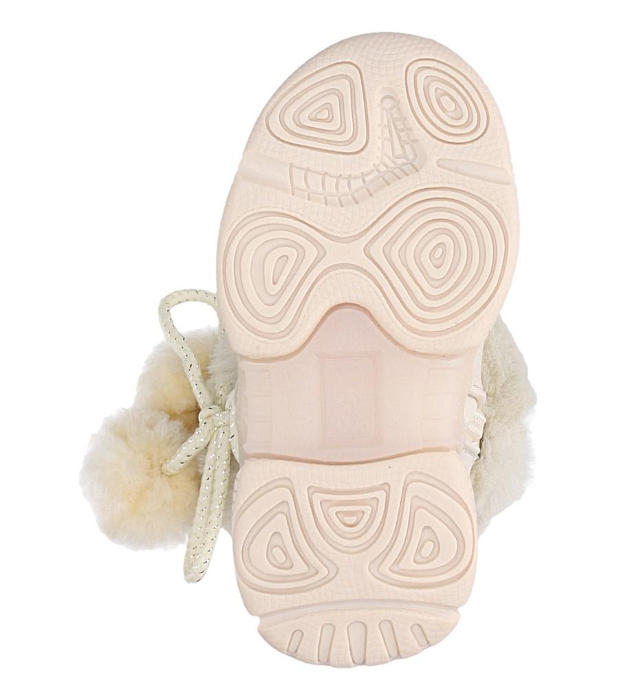 Kremowe botki z futerkiem i pomponami Casu X802A wierzch skóra ekologiczna