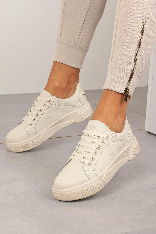 Kremowe buty sportowe creepersy sznurowane Casu W88 kremowy