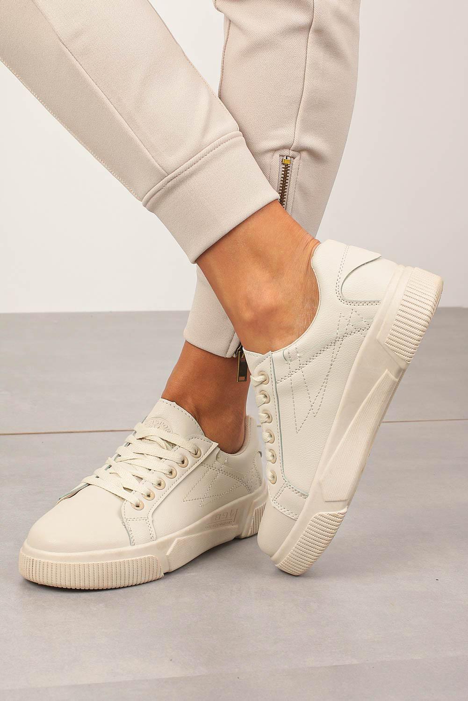 Kremowe buty sportowe creepersy sznurowane Casu W88