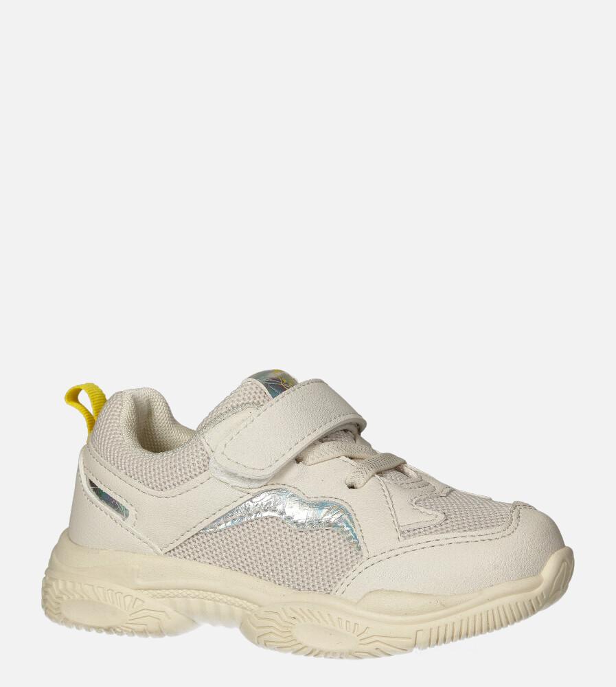 Kremowe buty sportowe na rzep Casu 20T5/M kremowy