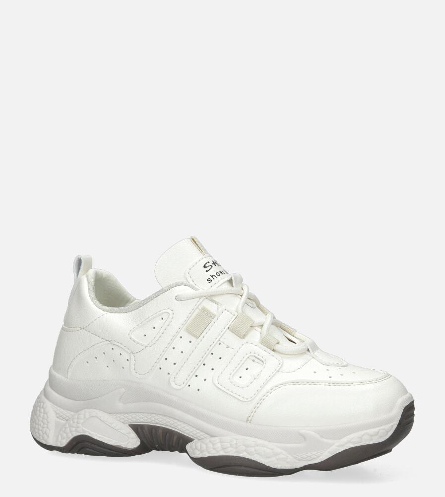 Kremowe buty sportowe sneakersy sznurowane Casu 20P13/W kremowy